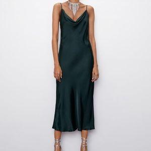 Zara Green Satin Midi Dress